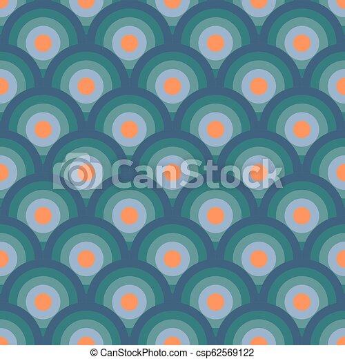 bleu, cercles, illustration., 60-s, modèle, seamless, vecteur, retro, orange, géométrique, waves. - csp62569122