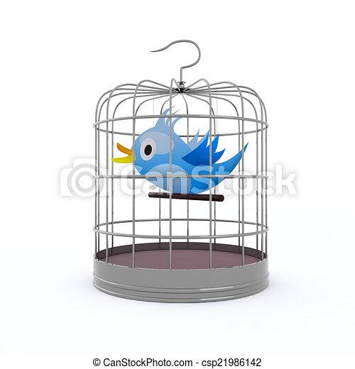 bleu, chirps, intérieur, mettez cage oiseau - csp21986142
