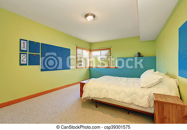 bleu, clair, gai, murs, vert, chambre à coucher, intérieur