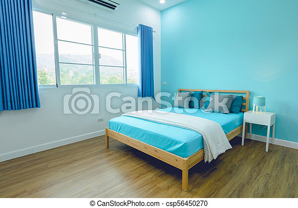 bleu, clair, king-size, lit, chambre à coucher