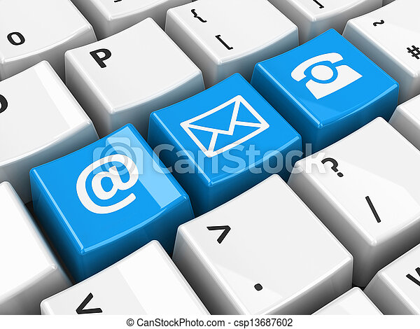 bleu, clavier, contact, informatique - csp13687602