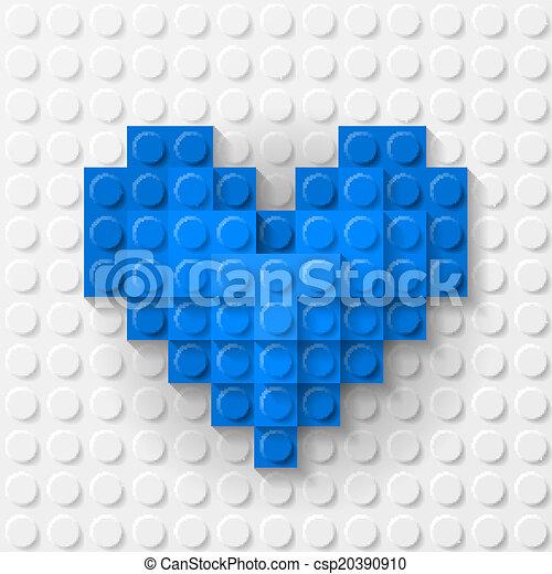 bleu, coeur, construction, fait, kit - csp20390910