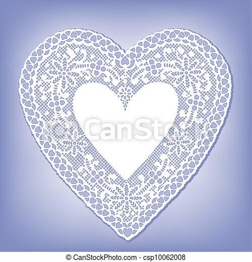 bleu, coeur, dentelle, napperon, pastel - csp10062008