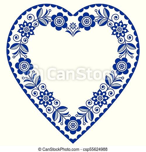 Bleu Coeur Vecteur Ornement Salutation Scandinave Traditionnel Floral Anniversaire Conception Folklorique Mariage Marine Forme