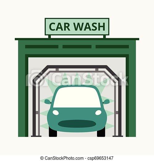 bleu, concept, business, voiture, isolé, illustration, laver, vecteur, fond - csp69653147