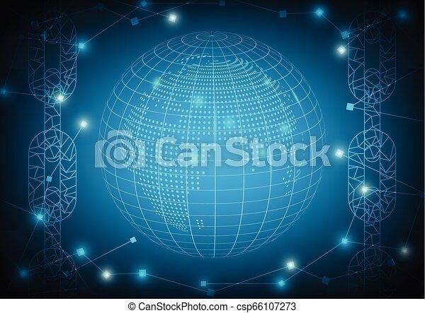 bleu, concept, fond, blockchain, vector., technologie - csp66107273