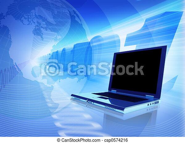 bleu, connexion - csp0574216