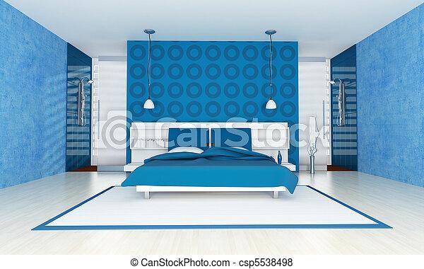 bleu, contemporain, chambre à coucher
