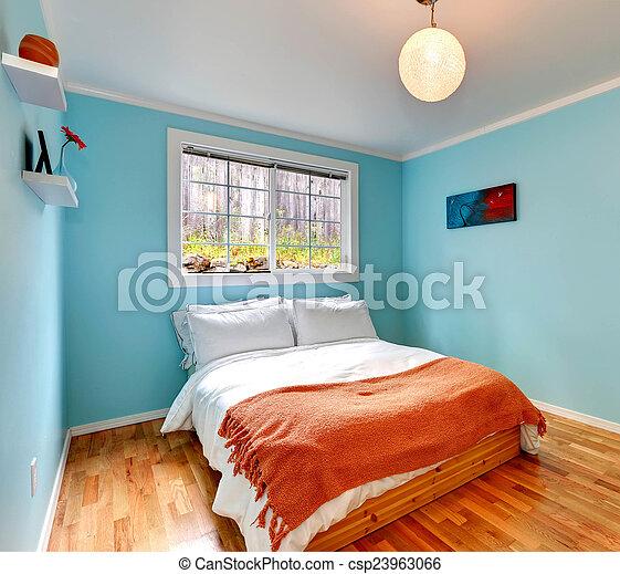 bleu, couleur, chambre à coucher, confortable, lumière