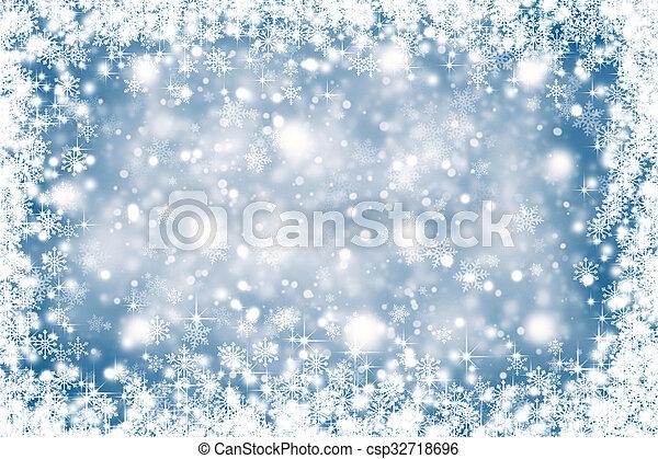 bleu, couleur, résumé, snowflakes., fond, noël, flou - csp32718696