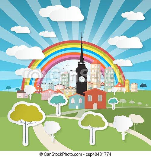bleu, coupure, nature, mobile, grand, résumé, titre, ciel, screen., arbres, téléphone portable, vecteur, rainbow., papier, paysage, e-livre - csp40431774