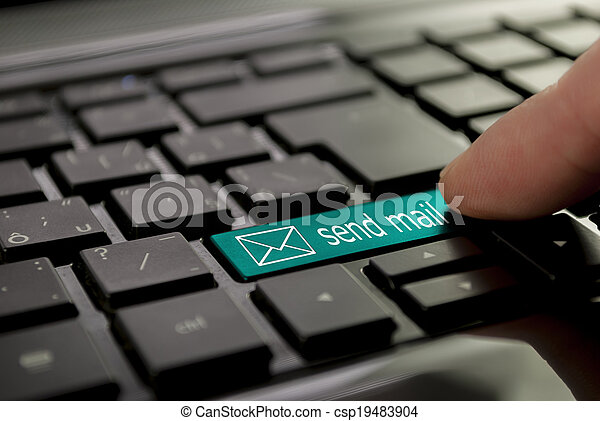 bleu, courrier, bouton, envoyer - csp19483904