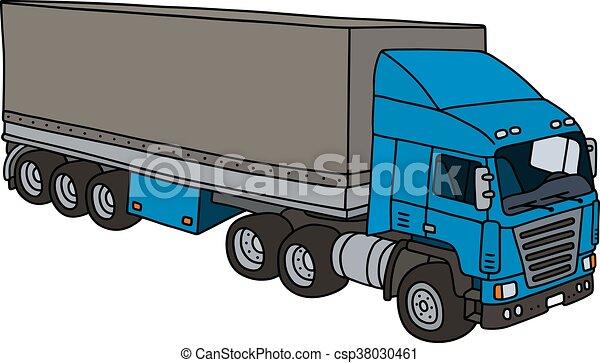 Bleu couverture semi remorque vrai rigolote bleu - Dessin de camion semi remorque ...