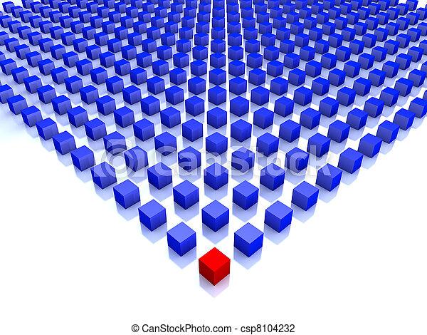 bleu, cubes, une, champ, coin, rouges - csp8104232