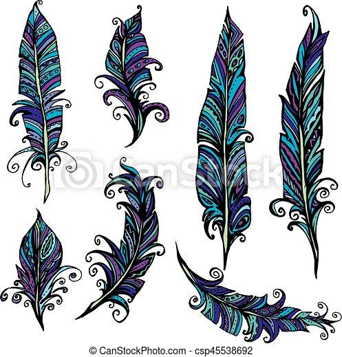 Bleu Décoratif Différent Ensemble Plume Tribal Encre Plumes Illustration Main Indien Colors Violet Dessiné Design
