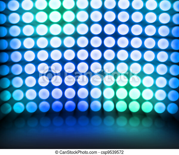 bleu, danse, disco allume, fond, étape - csp9539572