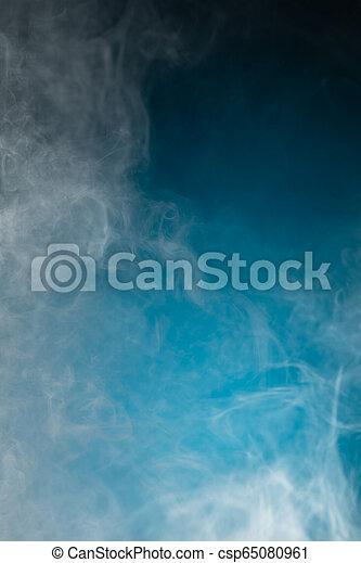 bleu, dense, fumée, fond - csp65080961