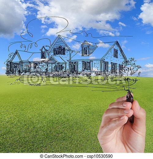 bleu, dessiner, maison, ciel, contre, main - csp10530590