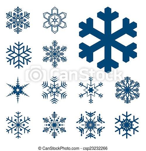 bleu, différent, flocons neige, collection - csp23232266