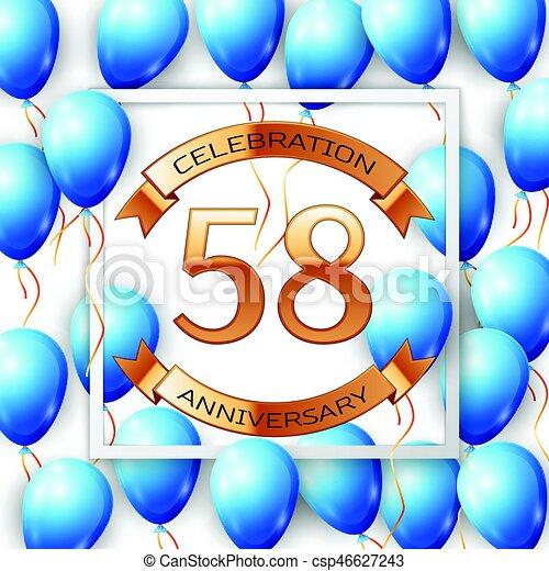 e7af7efecac974 bleu, doré, carrée, centre, texte, cadre, ballons, anniversaire,  illustration, cinquante, arrière-plan., vecteur, huit, réaliste, blanc,  années, ...