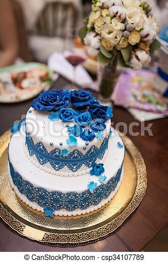 Bleu Doux Gâteau Mariage Blanc Cake
