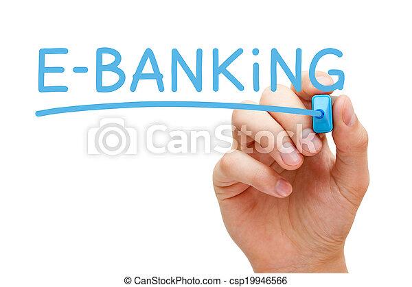 bleu, e-bancaire, marqueur - csp19946566