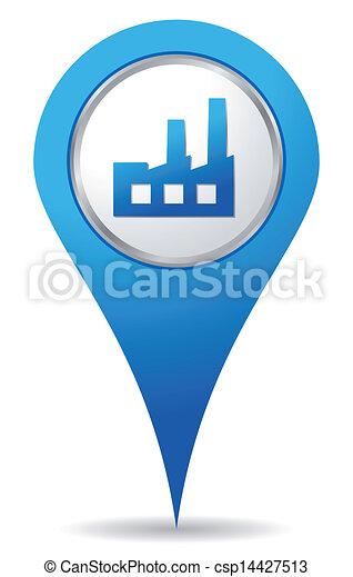bleu, emplacement, usine, icône - csp14427513