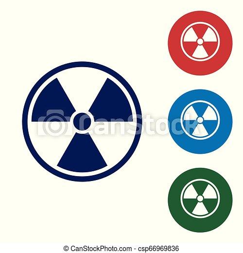bleu, ensemble, couleur radioactive, signe., radiation, isolé, danger, symbole., arrière-plan., buttons., vecteur, illustration, toxique, cercle blanc, icône - csp66969836