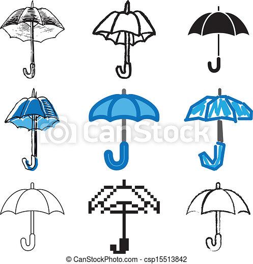 bleu, ensemble, parapluie, icônes - csp15513842