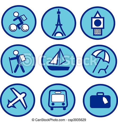 bleu, ensemble, voyager, -2, tourisme, icône - csp3935629