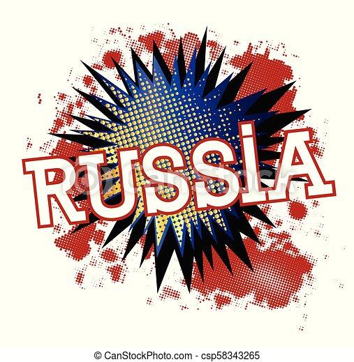 bleu, exclamation, russie, blanc, dessin animé, rouges - csp58343265
