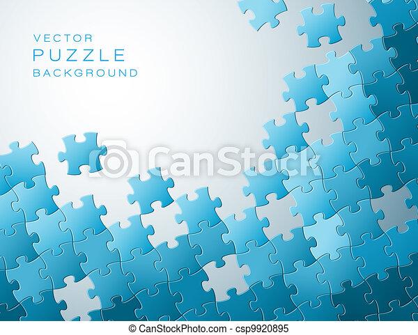 bleu, fait, morceaux puzzle, vecteur, fond - csp9920895