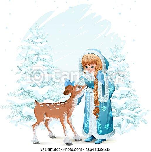 Bleu Faon Fourrure Jeune Fille Manteau Neige