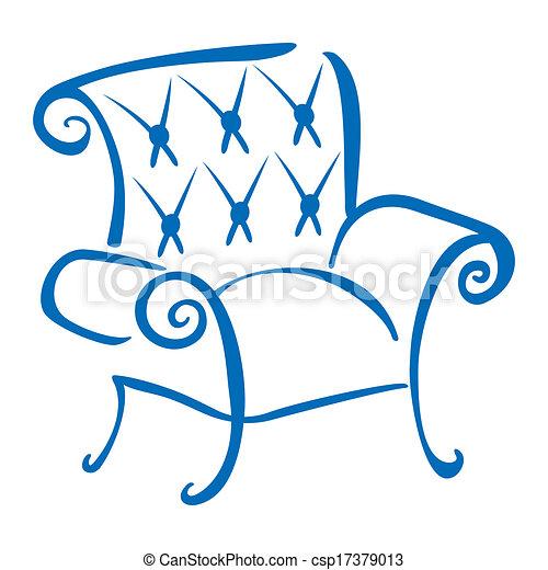 bleu, fauteuil - csp17379013