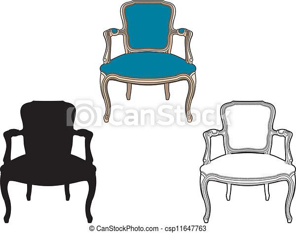 bleu, fauteuil, style - csp11647763