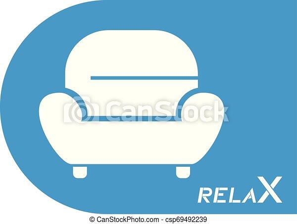 bleu, fauteuil, symbole, relâcher - csp69492239