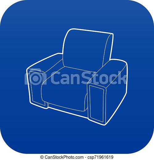 bleu, fauteuil, vecteur, icône - csp71961619