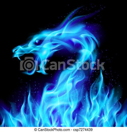 bleu, feu dragon - csp7274439