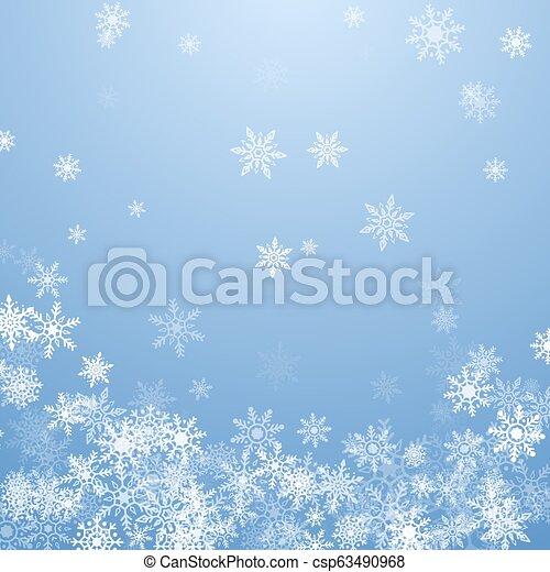 bleu, flocons neige, blanc, illustration, arrière-plan., vecteur, tomber, noël - csp63490968