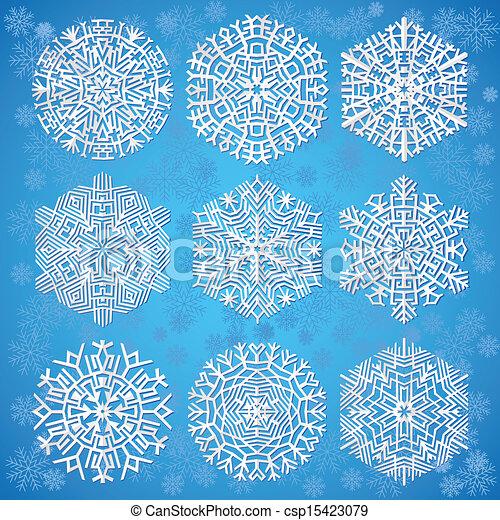 bleu, flocons neige, fond - csp15423079