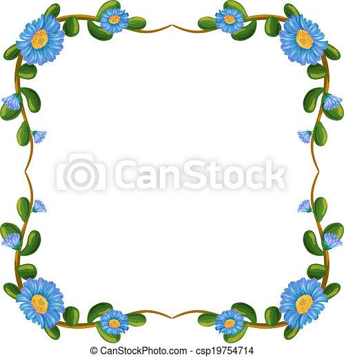 bleu, frontière, fleurs, conception - csp19754714