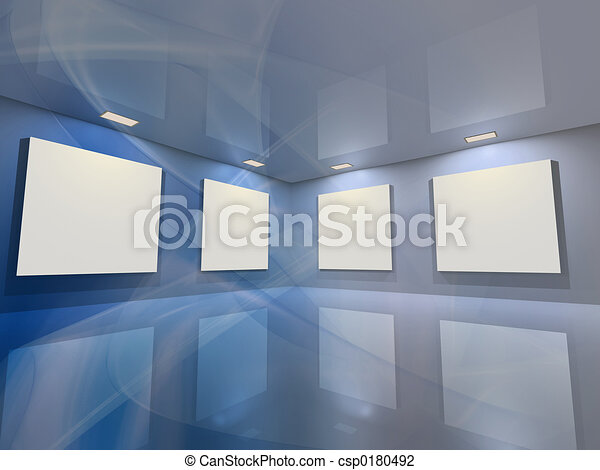 bleu, -, galerie, virtuel - csp0180492