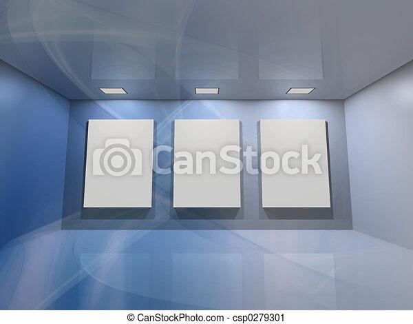 bleu, -, galerie, virtuel - csp0279301