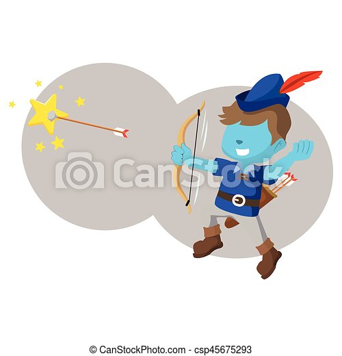 bleu, garçon, étoile filante, flèche - csp45675293