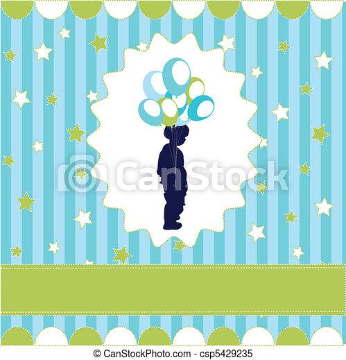 bleu, garçon, balloon, papier peint - csp5429235