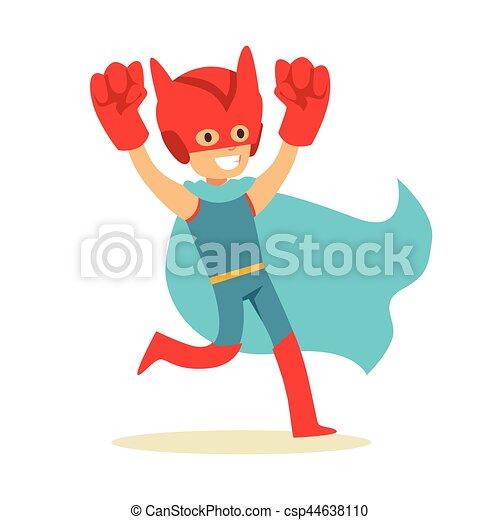 bleu, garçon, géant, superhero, avoir, poings, habillé, caractère, déguisement, feindre, cap, sourire, super, pouvoirs - csp44638110