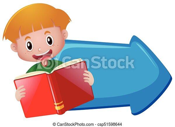 bleu, garçon, livre, lecture, flèche - csp51598644