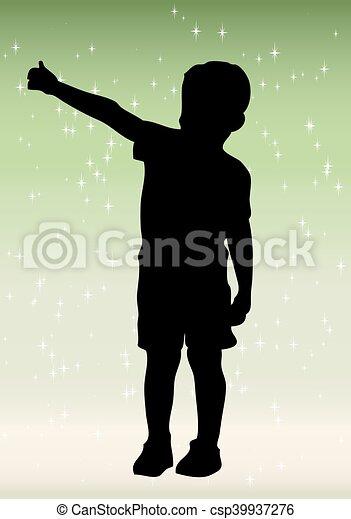 bleu, garçon, peu, silhouette, bac - csp39937276
