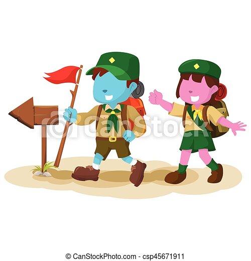 bleu, garçon, signe, scout, flèche, suivre - csp45671911