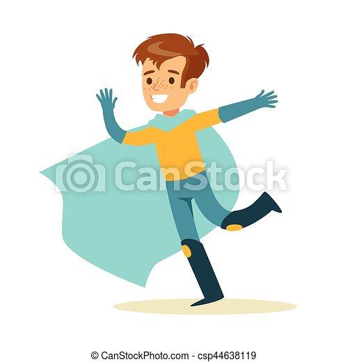 bleu, garçon, superhero, avoir, habillé, caractère, courant, déguisement, feindre, cap, sourire, super, pouvoirs - csp44638119